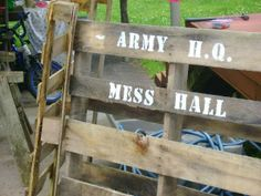 Greatfun4kids: Army Party Prep - Army party signage. Stencil on Pallets; easy to do and cheap/free to make using stuff found at the dump/reclaim yard