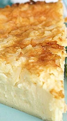 """Impossible Coconut Custard Pie - incredibly creamy, delicious, great texture, and not """"egg-y"""" (Southern dessert recipe) # coconut Desserts Impossible Coconut Custard Pie Coconut Desserts, Brownie Desserts, Oreo Dessert, Just Desserts, Pie Coconut, Custard Desserts, Coconut Pie Recipes, Egg Desserts, Party Desserts"""