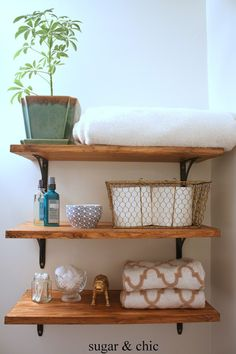 Rustic and industrial bathroom shelving