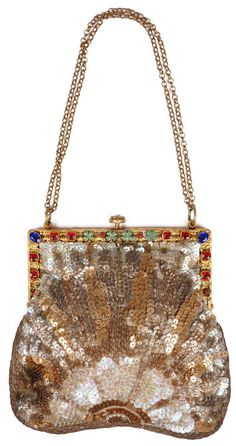 Art Deco Sequined Purse with Jewelled Frame 1920s Evening Bag Made in France