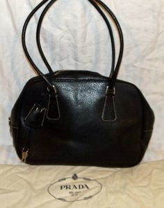 Authentic Prada Black Leather Satchel Handbag Purse