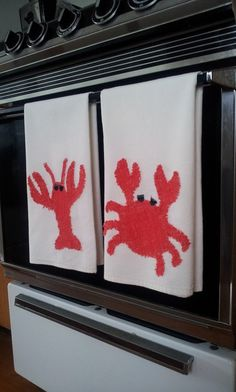 Nautical Crab and Lobster Kitchen Towels - Hand Crafted - unique color and texture.  Made to Order via Etsy