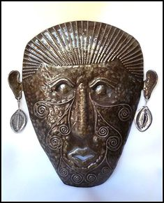 Haitian Steel Drum Art - Metal Wall Art, Ethnic Mask Metal Wall Hanging Haitian metal mask wall hanging Hand cut from recycled steel drums in Haiti. Outdoor Metal Wall Art, Metal Yard Art, Metal Wall Sculpture, Steel Sculpture, Drums Art, Haitian Art, Caribbean Art, Steel Drum, Metal Artwork