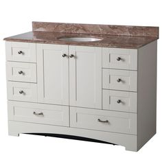St. Paul 48 in. Manchester Vanity in Vanilla with Stone Effects Vanity Top in Mayan Ivory-MBD48P2COM-V at The Home Depot
