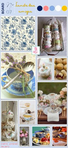 Inspired by the blue and white floral pattern. Read more: http://eraumavez-osonhoperfeito.blogspot.pt/2013/10/inspiration-board-n-7-cha-das-amigas-by.html