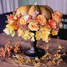 Pumpkins and roses centerpiece via p. allen smith