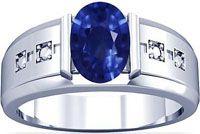 Platinum Oval Cut Blue Sapphire Mens Ring