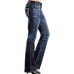 Rock Roll Cowgirl Women's Low Rise Boot Cut Jeans with Pyramid... ($90) ❤ liked on Polyvore