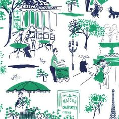 Michael Miller House Designer - Mod Prints - Gay Paree in Green (would be a cute summer dress- also in red)