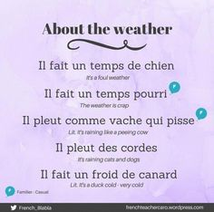 Some French expressions for the weather are funny 😂 French Slang, French Grammar, French Phrases, French Words, French Quotes, French Language Basics, French Language Lessons, French Language Learning, French Lessons