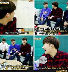 Hoya drew Sunggyu and he's unimpressed lol | Infinite