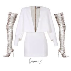 @balmainparis dress and @louboutinworld boots xx