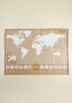 Plot Your Course Stamp Map. You can catalogue every journey, both imagined and completed, with the help of this brown cardstock wall map! Giant World Map, Vintage Decor, Retro Vintage, Unisex Gifts, Fun World, Nordstrom Gifts, Wall Maps, Novelty Print, Wooden Handles