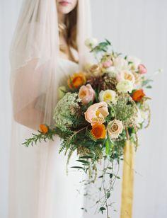 Peach + orange wedding bouquet