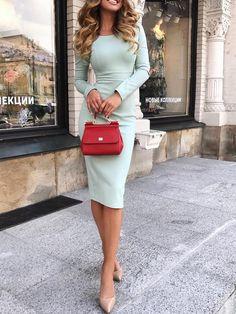 High Waist Long Sleeve Midi Dress - Fashion Able Trendy Dresses, Elegant Dresses, Fashion Dresses, Long Dresses, Simple Dresses, Party Dresses, Beautiful Dresses, Evening Dresses, Casual Dresses