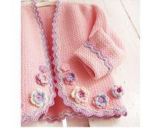 Abrigo con pájaro-botones Rebeca de Crochet por PdfPatternDesign