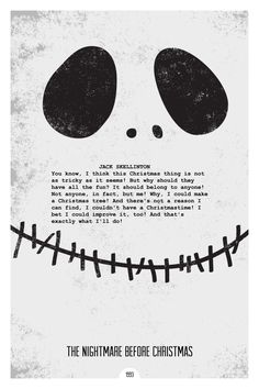 The Nightmare Before Christmas (1993) ~ Minimal Movie Quote Poster by Dope Prints #amusementphile