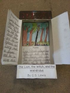 A book report box project for The Lion, The Witch, and the Wardrobe by C. The closed box looks like a wardrobe. I am making the template available for free on TeacherPayTeachers; I'll pin that when it clears! Book Report Projects, Book Projects, School Projects, Reading Projects, Writing Lesson Plans, Writing Lessons, Narnia, Book Report Templates, Library Skills