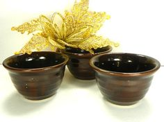 3 Monmouth Western Pottery Bowls Brown Salsa Bowls by Chaseyblue