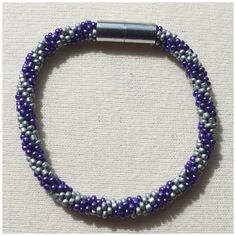 Purple and Silver Stripes Bead crochet rope bracelet via CherryLime Accessories. Click on the image to see more!