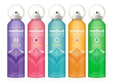 Method Homehas just announced the launch of an innovative air freshener,  designed with revolutionary, non-toxic pressurized air technology. Unlike  most traditional aerosol sprays that are powered by petroleum-derived  propellants, Method's new spray is packed in an airtight chamber powered by  compressed air. The packaging is bright and bold, and comes in 5 fresh  nature-inspired scents!