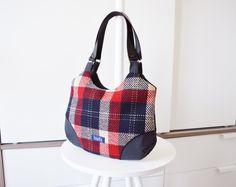 Plaid purse simple minimalist medium purse handbag shoulder bag canvas bag real genuine leather black straps elegant everyday purse tartan