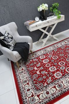 Runiullae Traditional Boarder Design Red Rug A marvelous exhibit of trendsetting rugs, this Collection instills life into extraordinary spaces. Expertly power-loomed in Turkey, these rugs are easy-care and virtually non-shedding. Classic designs become fashion-smart home decor in this alluring and playful collection.