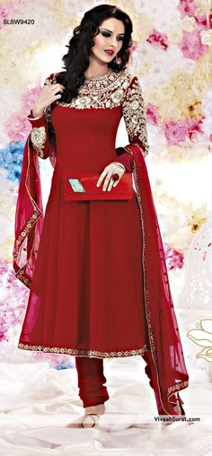 """Stunning maroon anarkali suit 