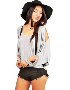 Grey Batwing Sleeve Split Sheer T-shirt 18.49