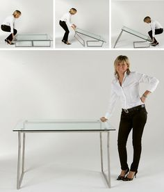 In the case of this clever metal-and-glass card table, the legs lift up to turn it from coffee-table-height to a position where it can seat four at typical chair level. Transforming Furniture, Moving Furniture, Space Saving Furniture, Furniture Decor, Coffee Table Height, Space Saving Table, Convertible Table, Compact Furniture, Resource Furniture