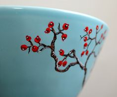 Large Hand-Painted Blue Bowl: Red Berry Winter Tree Branches by Mary Elizabeth Arts