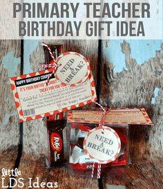 Primary Teacher Birthday Gifts from Little LDS Ideas. Includes free printables!
