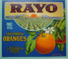 Good Year Orange Crate Label Rayo Tulare Art Deco Typography Original 1930s Collectibles