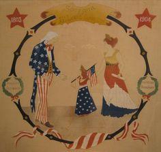 1904 ST LOUIS FAIR JEFFERSON NAPOLEON AMERICAN FLAG FOLK ART PAINTING