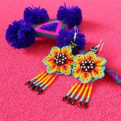 Huichol Beaded Flower Earrings with Fringe Flower Earrings, Beaded Earrings, Beaded Jewelry, Long Fringes, Orange Flowers, Dangles, Crochet Hats, Beads, Pattern