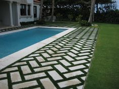 Splendid Hanging Plants Outdoor Ideas 8 Enticing Cool Tips: Artificial Grass Gym artificial garden lawn.Large Artificial Plants Home artificial grass pool. Grass Pavers, Pool Pavers, Backyard Landscaping, Landscaping Ideas, Paver Sand, Paver Stones, Concrete Pavers, Lawn And Landscape, Landscape Design