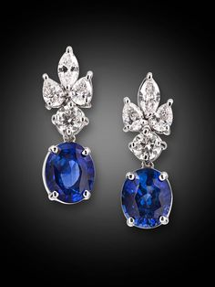 Sapphire Diamond Gold Drop Earrings | From a unique collection of vintage dangle earrings at https://www.1stdibs.com/jewelry/earrings/dangle-earrings/