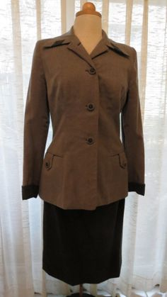A favorite true #vintage #jacket from the #1940's - early #1950's.  #WWII time or shortly after.  Love the charcoal colors (VERY versatile) and the contrasting trim all over.  So smart!  Morgana Martin, the Magicvintagespy Blog:  Magicvintagespy.com Book:  How to Find the Best in Vintage Fashion available on Amazon.com