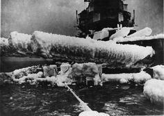 King George V class battleship HMS Anson (79) covered in ice while escorting Russian convoys in the Artic Ocean [47963401]