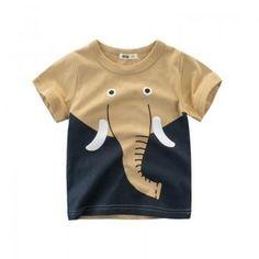 Stylish Elephant Print Short-sleeve Tee for Boy