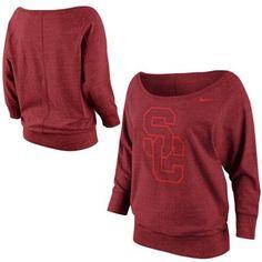 Nike USC Trojans Ladies Lazy Day Boatneck Sweatshirt - Cardinal