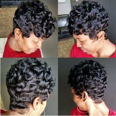 Terrific Short wavy hairstyles for black women – Cute designs on curly hair, ponytail styles, with weave, with braids on African American black women. Natural undercut ideas a . Short Wavy Hair, Curly Hair Cuts, Curly Hair Styles, Natural Hair Styles, Updo Curly, Natural Curls, Curly Pixie, Thin Hair, Short Pixie