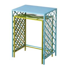 Green And Blue Metal Nested Side Tables Set of 2