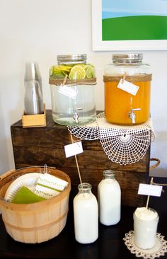 Farm Boy Baby Shower Pie Table - twine and clothespins on drink jugs
