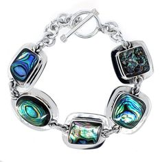 Sterling Silver Abalone Inlay Irregular-Shaped Bracelet with Toggle Closure: $96.00