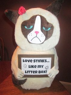 Grumpy Cat Valentine's Day Box (The hole for the Valentines' is behind the head)