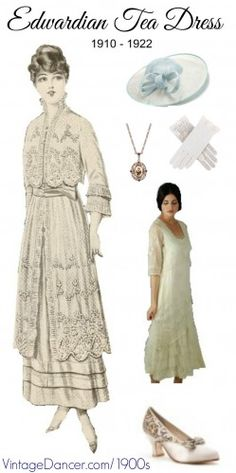Edwardain Tea Dress Costume Guide. White lace dress, lace goves, white shoes, garden hat, and jewelry. Shop these and more at VintageDancer.com/1900s