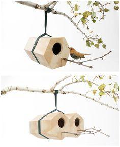 Neighbirds, modulaire vogelhuisjes van Andreu Carulla, enkel of met meerdere tegelijk te bevestigen.  Prachtig!