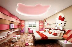 Hello Kitty Room Themes Goals in life.all Hello Kitty! Hello Kitty Zimmer, Hello Kitty Haus, Hello Kitty Bedroom, Girl Bedroom Designs, Bedroom Themes, Girls Bedroom, Bedroom Decor, Room Girls, Bedroom Ideas
