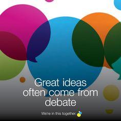 Great ideas often come from debate Tech Logos, Chart, School, Creative, Blog, Ideas, Schools